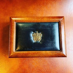 Vintage Apex Jewelry Box Wood Leather Crest
